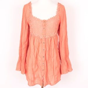XCVI salmon pink embroidered tunic blouse top